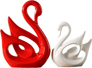 2 Pieces Swan Decor Swan Statue Swan Sculpture Ceramic Swan Statues for Home Decor Bookshelf Desk Office Living Room Bedroom Decoration Ornaments (Red White swan)