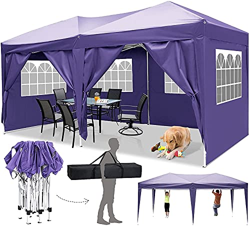Faltpavillon 3x3/3x6 Pavillon Wasserdicht Gartenpavillon UV Schutz Faltpavillon mit 4 Seitenteilen Festival Partyzelt Sonnenschutz Pavillon für Strand / Garten / Hochzeit / Camping (3x6M, Violett)