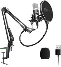 میکروفن کنسول USB Podcast میکروفون 192kHZ / 24bit، UHURU حرفه ای PC جریان کریووییدی کیت میکروفون با رول رول، شوک کوه، فیلتر پاپ و شیشه جلو، برای پخش، ضبط، یوتیوب