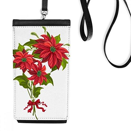 DIYthinker Kerstmis Bloem Poinsettia Boeket Rood Lint Faux Lederen Smartphone Hangende Handtas Zwart Telefoon Portemonnee Gift