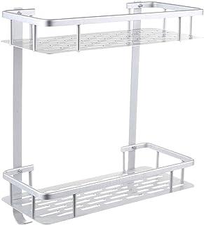 Goolsky 2 Tier Bathroom Shelf Wall Mounted No Drilling Shower Storage Basket Heavy Duty Aluminum Shower Organizer