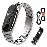 BDIG Correa Compatible Mi Band 4 Correas Metal,Pulsera de Acero Inoxidable Agradable para Mi Band 4 Correa (No Host) (Plus Plata)