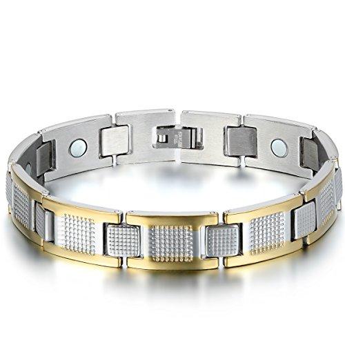 JewelryWe Schmuck Herren Magnet Armband, Klassiker I Quadrat Link Magnetarmband Armreif, Edelstahl, Gold Silber