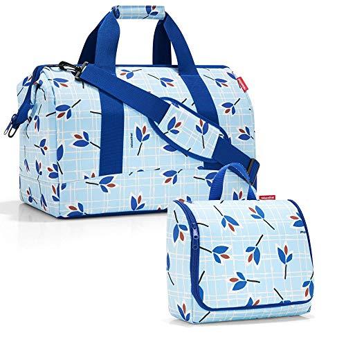 reisenthel allrounder L mit toiletbag XL und wahlweise mit extra Zugabe Reisetasche Waschtasche (leaves blue)