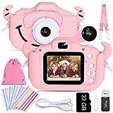 Faburo Cámara para Niños Juguete para Niños, Cámara Digital Selfie para Niños pequeños con Tarjeta de Memoria SD 32GB, Pantalla LCD de 2.0 Pulgadas, Video HD de 1080P Doble Objetivo Rosa
