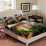 Juego de ropa de cama de pino con diseño de lagartija para niños, tamaño king, gramíneas verdes, sábanas bajeras, setas, animales salvajes, ropa de cama, 3 piezas