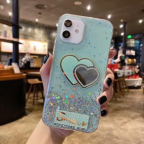 Miagon Brillantini Cover per iPhone 12,Carino Bling Glitter Stelle Custodia Case Paraurti in TPU Trasparente per Donna Protettiva,Cuore Verde