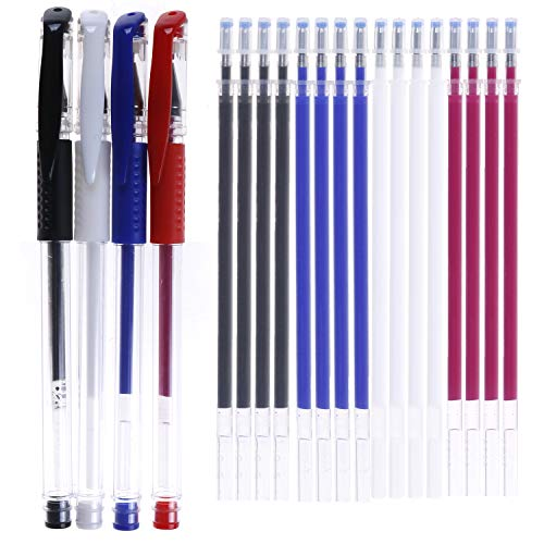 4 Colors Heat Erase Pens with 20 Pieces Heat Erasable Fabric Marking Free Refills for Sewing,Quilting and Dressmaking