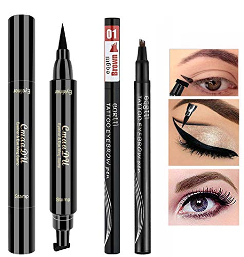 Double-end Winged Eyeliner Stamp Pen,Eyebrow Pencil with Eye Makeup Long Lasting Waterproof & Smudgeproof Natural Looking Brows 2PCS (Black / Brown)