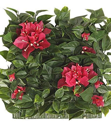 artplants.de Set de 2 x Seto Artificial de buganvilla en Rejilla de plástico, Resistente a los Rayos UV, 30x30cm - Estera con Flores/Seto Falso