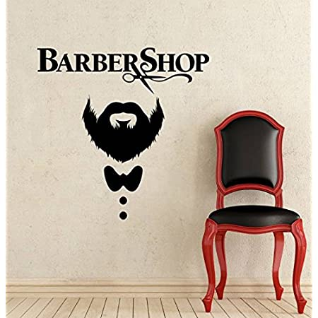 Barber Shop Wall Decal Hairdressing Salon Vinyl Sticker Decals Beauty Haircut Men Mustache Scissors Window Art Decor Ns1036