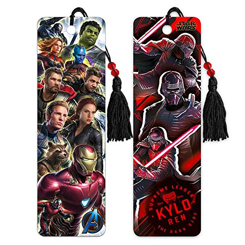 Marvel Comics Superhero & Star Wars Villain Bookmark Bundle Includes 2 Premium Bookmarks Featuring Iron Man, Hulk, Thor, Kylo Ren, and More (Superhero School Supplies, Office Supplies)