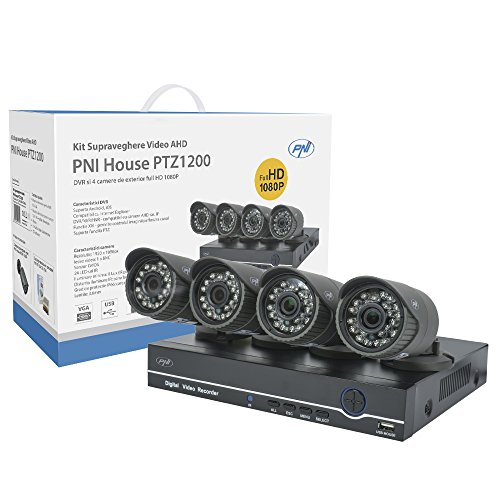 Kit di videosorveglianza AHD (Analog High Definiton) PNI House PTZ1200 Full HD 1080P - NVR e 4 telecamere di sorveglianza esterne