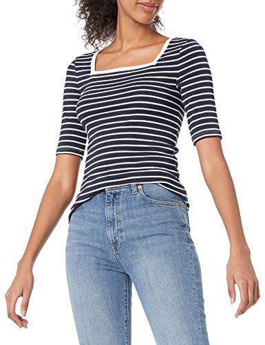 Amazon Essentials Slim Fit Half Sleeve Square Neck T-Shirt, Marineblau/Weiß, Streifen, L