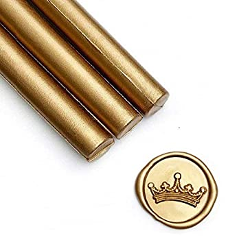 UNIQOOO Mailable Glue Gun Sealing Wax Sticks for Wax Seal Stamp - Metallic Antique Gold Great for Wedding Invitations Cards Envelopes Snail Mails Wine Packages Christmas Gift Ideas Pack of 8