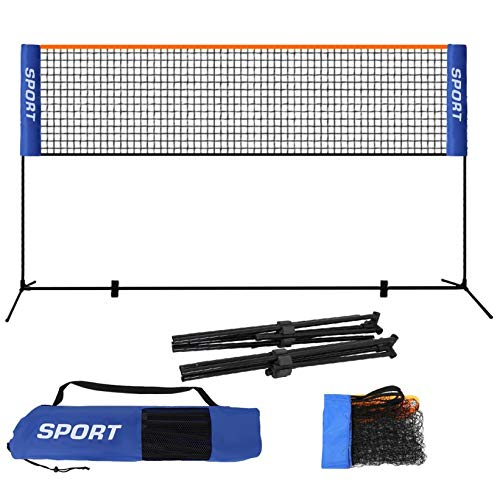 perfectbot 10 Feet Portable Badminton Net Set for Tennis, Soccer Tennis, Pickleball, Kids Volleyball with Stand/Frame Carry Bag Easy Setup Nylon Sports Net with Poles