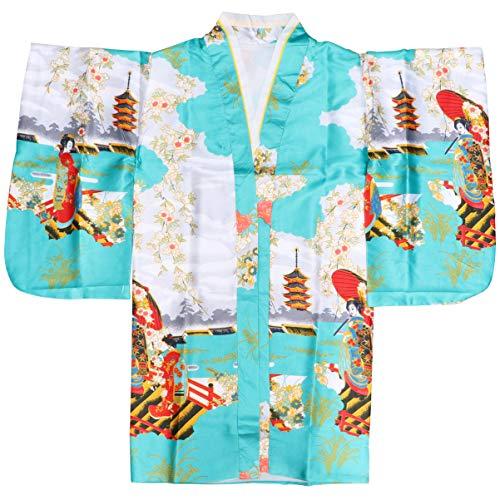 PRETYZOOM Kimono Japonés Seda Tradicional Japonesa Albornoz Chaqueta Yukata Pijamas Cosplay Vestido Lolita Traje Fotografía Rendimiento Disfraz para Mujer Niña Azul Cielo