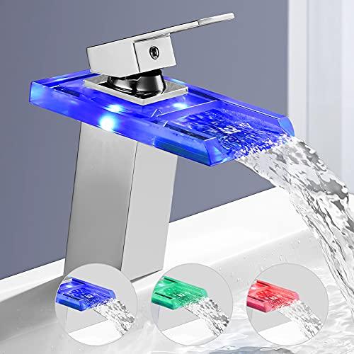 Wasserhahn Bad LED BONADE Waschbecken Armatur RGB Farbewechsel Glas Wasserfall Auslauf, Badarmatur Mischbatterie für Bad/Badezimmer Waschtischarmatur