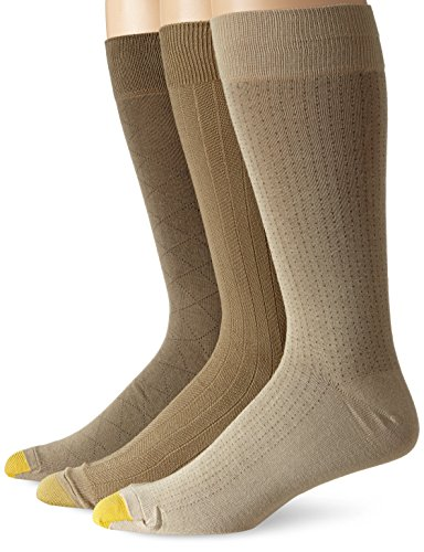 Gold Toe Men's Rayon Fashion 3 Pack Socks, Dust/Winter Khaki/Taupe, 13-15