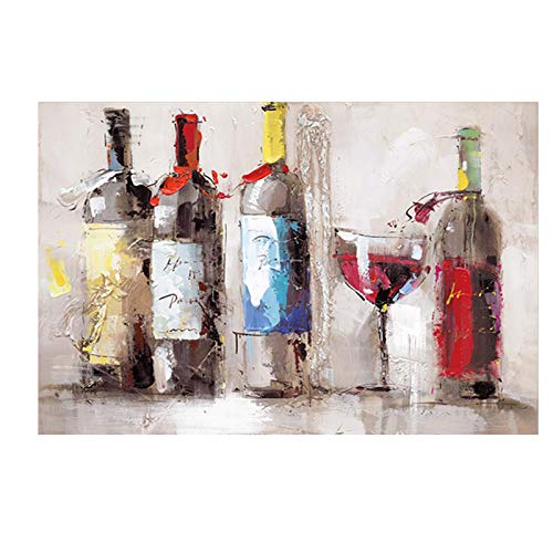 N / A Oil Painting of Red Wine Glass Dancing Print On Canvas, Poster, Kitchen Decoration, Decorative Wall Picture for Living Room Frameless 60x80cm