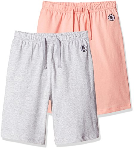 Kid Nation Kids Unisex 2 Packs 100% Cotton Casual Pull On Shorts for Boys and Girls L Seashell Pink + Gray Heather