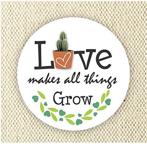 Love Makes all Things Grow Stickers - Mini Succulent Love Makes it Grow Stickers - Anniversary Favor Stickers - Wedding Stickers - Baby Shower Stickers Set of 40 Stickers