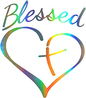 KANWAWO Fashion Car Sticker Creative Blessed Cross and Heart Christians Decal Vinyl Sticker|Cars Trucks Vans Walls Laptop Car Styling (2pcs Blessed Cross and Heart Christians, 160 x 140 mm)