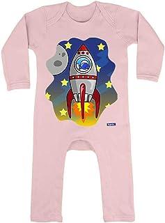 HARIZ HARIZ Baby Strampler Rakete Im Weltall Astronaut Mond Planet Plus Geschenkkarten Zuckerwatte Rosa 6-12 Monate