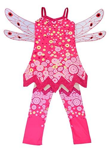 Lito Angels Mia and Me Kostüm Kleid Kinder Mädchen mit Flügel und Hose Verkleidung Fee Halloween Party Karneval Cosplay Pink Größe Gr. 7-8 Jahre 122 128