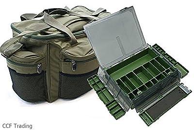 Carp Fishing Large Holdall Carryall Bag & Tackle Box & Rig Box Ngt