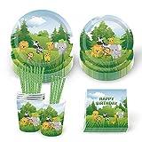 69 pezzi animali della giungla Party Tableware,255,1 g bicchieri di carta, tovaglioli, piatti usa e getta da 17,8 cm, set di piatti da 22,9 cm per picnic e feste, piatti da dessert cena bomboniera