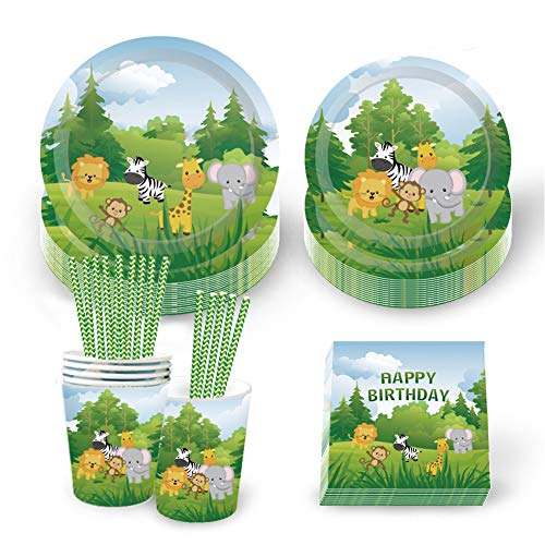 69 Pieces Jungle AnimalsParty Tableware,9oz Paper Cups,Napkins,7' Disposable Plates,9' Plates Set for Picnics and Parties,Dinner Dessert Plates Jungle Party Favors