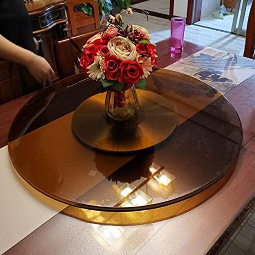 Plato Giratorio de Vidrio Redondo marrón, Bandeja giratoria de 360 ° para Mesa de Comedor, Plato de Servicio Transparente Grande para Restaurante de Cocina de Hotel Familiar, fácil de Limpiar