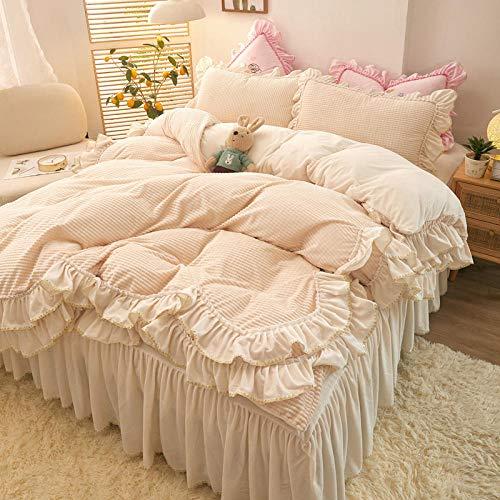 juego de funda nórdica cama 90,Estilo princesa de invierno gruesa franela de doble cara con volantes falda de cama funda nórdica cama individual funda de almohada individual-X_Cama de 1,5 m (4 piezas