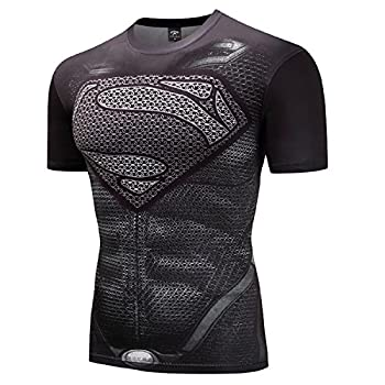 GYM GALA Superman Men s Short Sleeve Outdoor Sports 3D Print Compression Shirt  XX-Large Gray
