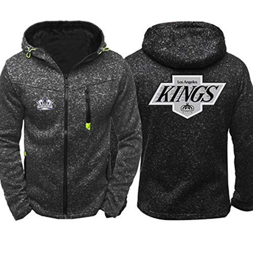 COZY LS Unisex Hockey Hoodie Jacke - NHL Los Angeles Kings Training Pullover Fan Jersey Zip Sweatshirt Langarm Baseball Uniform - Teens Geschenk Grey-M