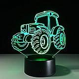 3D lámpara tractor luz nocturna Banco de energía USB llevó la iluminación de la lámpara para debajo de los gabinetes de cocina luces con sensor de movimiento luz 3D
