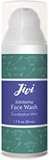 Jivi Exfoliating Face Wash (Eucalyptus Mint) | Cream Cleanser that Removes Makeup and Tones | 100% Natural with Organic Ingredients | Made for Sensitive and Dry Skin | 1.7 fl. oz.