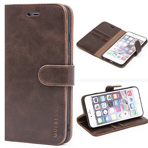 Mulbess Handyhülle für iPhone 6s Plus Hülle Leder, iPhone 6s Plus Handy Hüllen, Vintage Flip Handytasche Schutzhülle für iPhone 6 Plus / 6s Plus (5.5 inch) Case, Kaffee Braun
