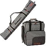 BRUBAKER Conjunto 'Super Performance' Bolsa para Botas y Casco de ski Junto a 'Carver Performance' Bolsa para un par de Ski - Heather Gris/Negro - 190 cms.