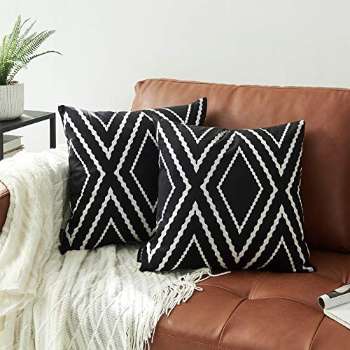 Nestinco Set of 2 Black Pillow Covers 18 x 18 inches Boho Aztec Polyester Blend Square Decorative product image