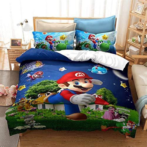 NICHIYO Super Mario Juego de ropa de cama y funda de almohada de fibra de poliéster, microfibra, impresión digital 3D, 3 piezas (funda nórdica + fundas de almohada) (33,210 x 210 cm)