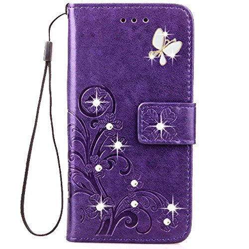 Price comparison product image HAOTP 3D Handmade Bling Crystal Rhinestone Butterfly Floral Lucky Flowers PU Flip Stand Credit Card ID Holders Wallet Case Cover for Samsung Galaxy J3 / Express Prime / Amp Prime (Bling / Purple)