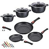 Kamberg - 0008161 - Batterie de cuisine 12 pièces : 3 poêles / 3 faitouts - Fonte...