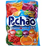 UHA Mikakuto Puchao Soft Chewy Candy with Gummy Bits, 4 Fruit Soda Flavors with Apple, Watermelon, Grape, and Orange, 3.53 Ounce