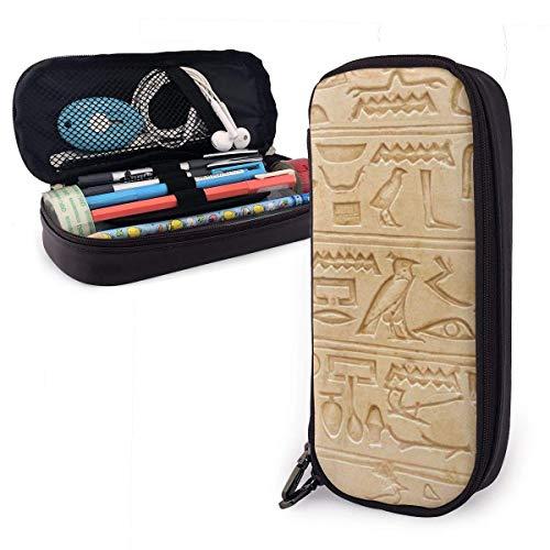 Ägyptisches Piktogramm Symbol Steinschnitzerei Pu Leder Federmäppchen Stift Tasche Hohe Kapazität Doppelreißverschluss Make-up Beutel Münztasche