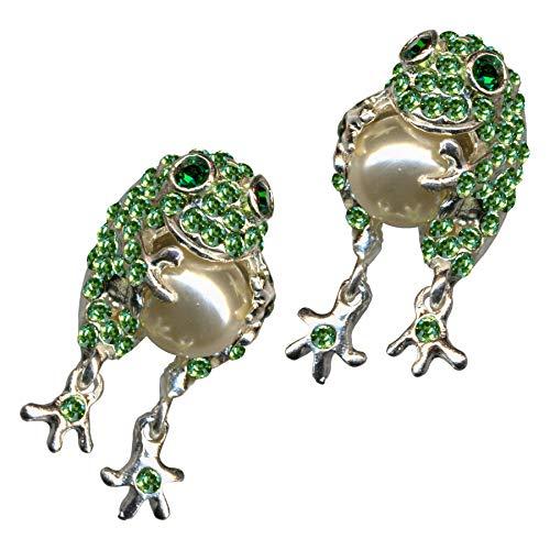 Pendientes de rana con perlas verdes, pies móviles, príncipe rana, plata de ley 925, circonitas, cristales brillantes, plata de ley 925, amor, animales de amor, ranas, extravagantes, nuevos cuentos