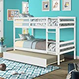 kupet Twin Over Bunk Bed, Convertible to 2 Full Size Platform Bedframe with Storage Trundle, Ladder and Safety Rails for Kids, Teens, Adults, White