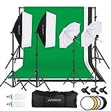 Andoer Kit de Fotográfico Estudio, 5.9x9.1pie Tela de Fondo(Negro/Blanco/Verde) con Sistema de Soporte, Softbox de 135W, Paraguas de Luz Suave de 45W, Iluminación Profesional para Fotografía y Vídeo