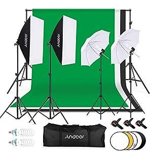 Andoer Kit Fotográfico Estudio,1.8x2.8m Tela de Fondo(Negro/Blanco/Verde) con Sistema de Soporte,Softbox de 135W,Paraguas de Luz Suave de 45W,iluminación Profesional para Fotografía y Vídeo